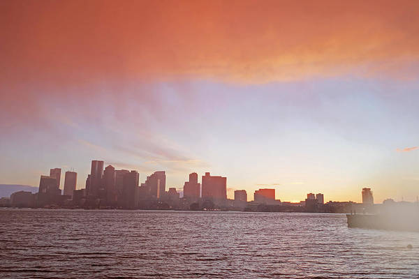 Photograph - The Boston Skyline At Sunset From East Boston Storm by Toby McGuire