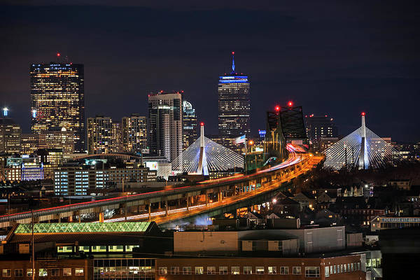 The Boston Skyline Boston Ma Full Zakim Art Print
