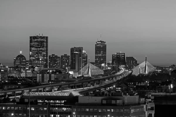 Photograph - The Boston Skyline Lit Up Blue On Hanukkah At Sunset Black And White by Toby McGuire