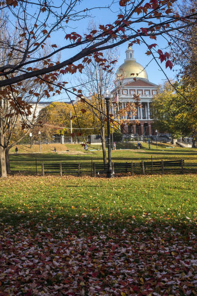 Photograph - The Boston Statehouse. Autumn In The Public Garden by Toby McGuire
