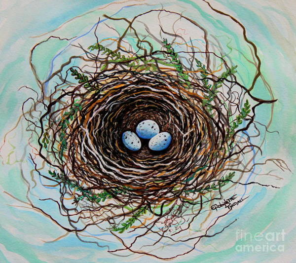 Painting - The Botanical Bird Nest by Elizabeth Robinette Tyndall