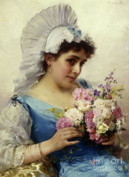 Flirtatious Painting - The Bouquet  by Federigo Andreotti