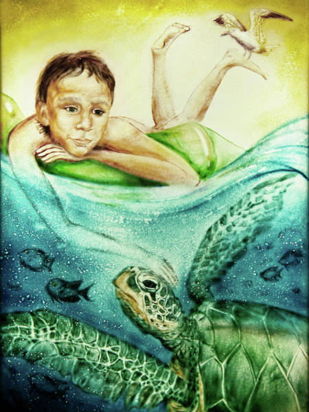 Painting - The Boy And The Turtle by Elena Vedernikova