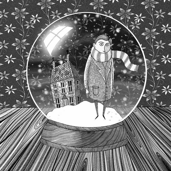 Woods Drawing - The Boy In The Snow Globe  by Andrew Hitchen
