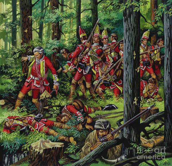 Platoon Wall Art - Painting - The Braddock Massacre by Ron Embleton