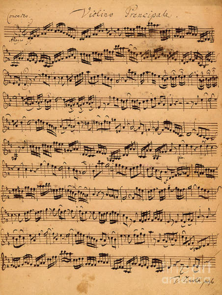 Manuscript Wall Art - Drawing - The Brandenburger Concertos by Johann Sebastian Bach