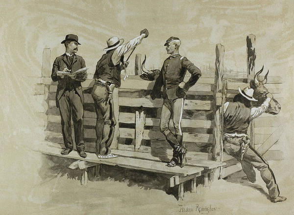 Iron Drawing - The Branding Chute by Frederic Remington
