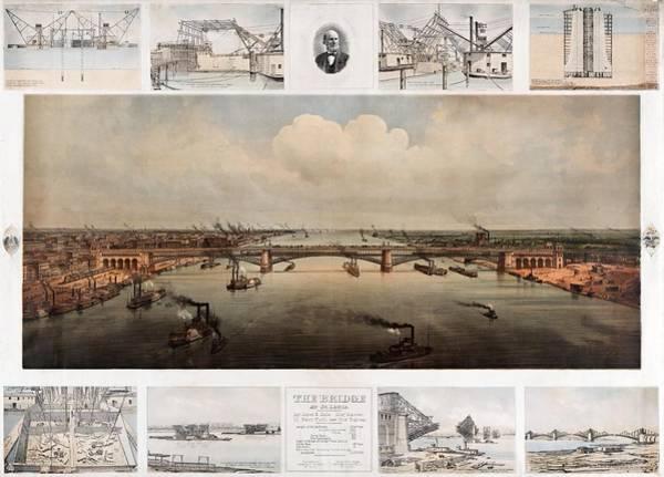 St Louis Arch Painting - The Bridge At St. Louis, Missouri, Ca. 1874 by Vintage Printery