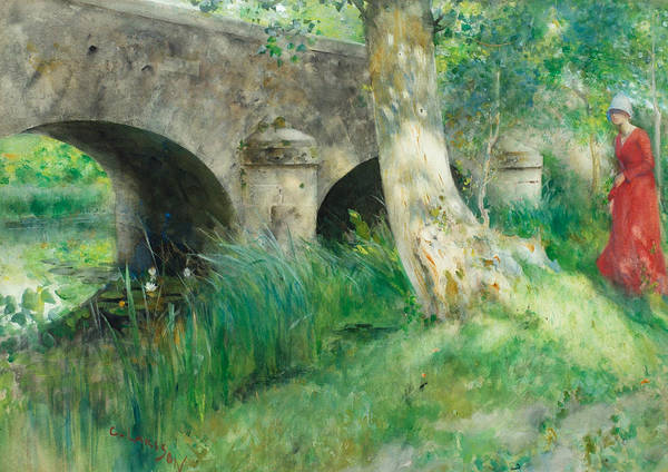Painting - The Bridge In Grez by Carl Larsson