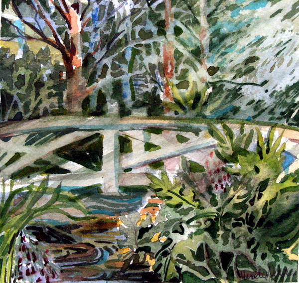 Wall Art - Painting - The Bridge by Mindy Newman