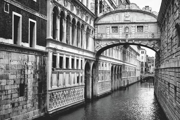 Photograph - The Bridge Of Sighs In Venice, Italy - Black And White by Fine Art Photography Prints By Eduardo Accorinti