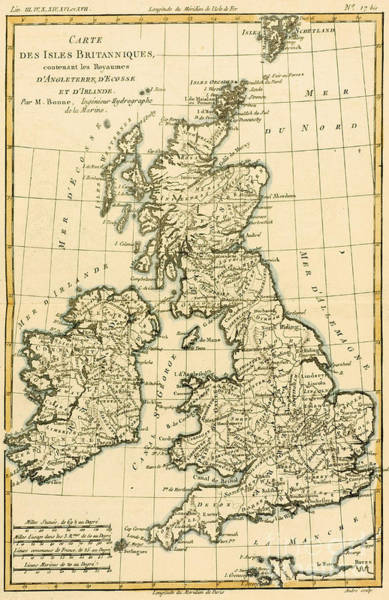 Mapping Drawing - The British Isles by Guillaume Raynal