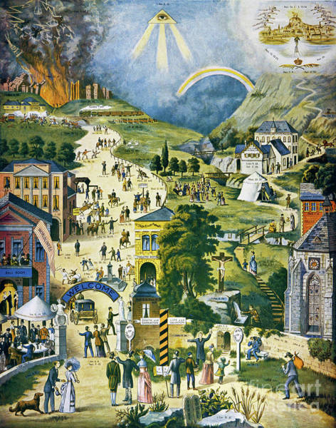 1900 Painting - The Broad And Narrow Way To Heaven by Mary Evans Picture Library