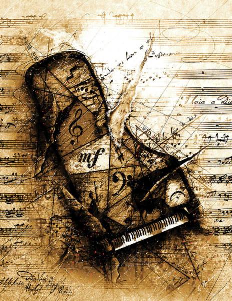 Grand Piano Digital Art - The Broken Harp by Gary Bodnar