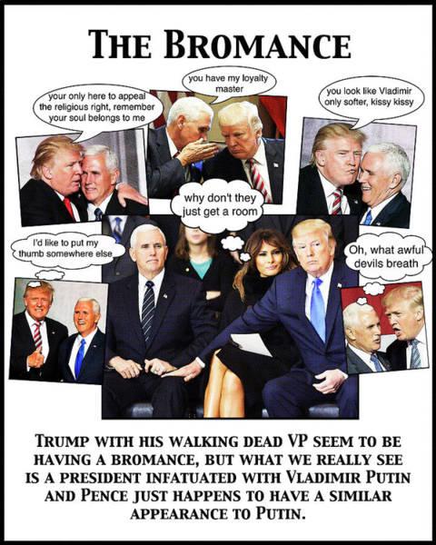 Trump Digital Art - The Bromance by Joe  Palermo