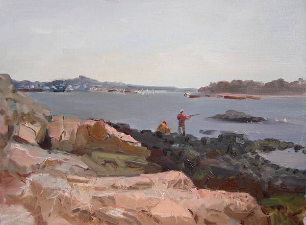 Rocky Wall Art - Painting - The Bronx Rocky Shore by Ylli Haruni