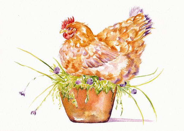 Terracotta Painting - The Broody Hen by Debra Hall