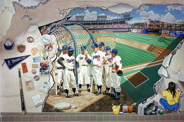 Jackie Robinson Wall Art - Painting - The Brooklyn Dodgers In Ebbets Field by Bonnie Siracusa