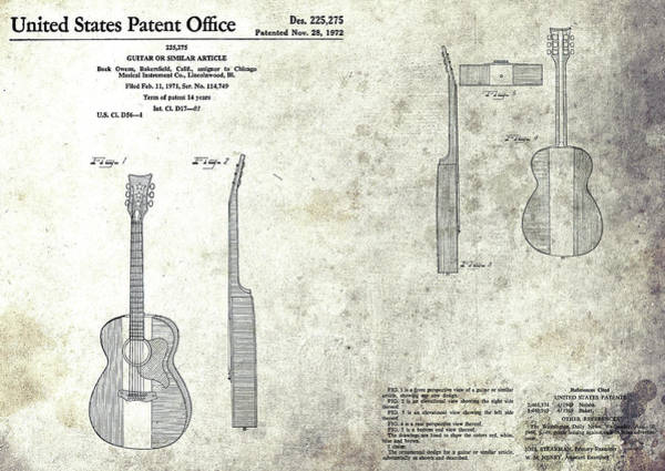 Mixed Media - The Buck Owens Guitar Design by Dan Sproul