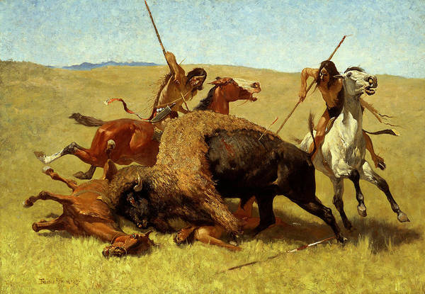 Painting - The Buffalo Hunt by Frederic Remington