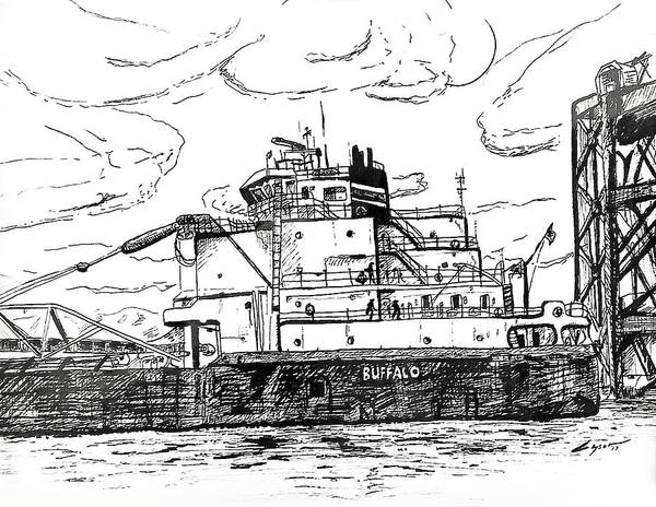 Ohio River Drawing - The Buffalo by Patrick Geyser