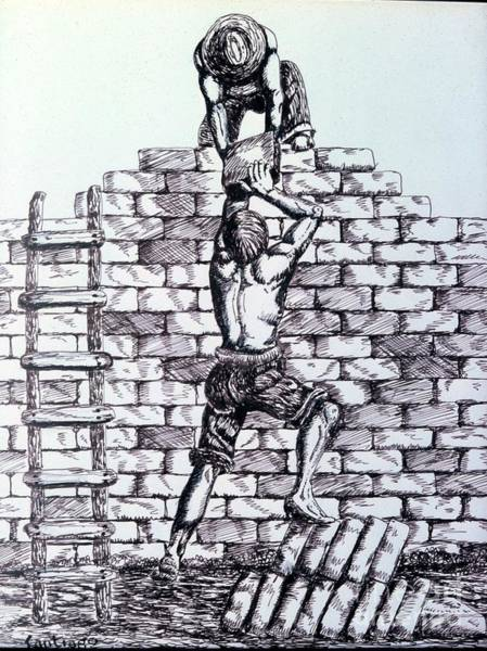 Drawing - The Builders by Santiago Chavez