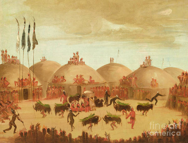 Indian Camp Painting - The Bull Dance by George Catlin