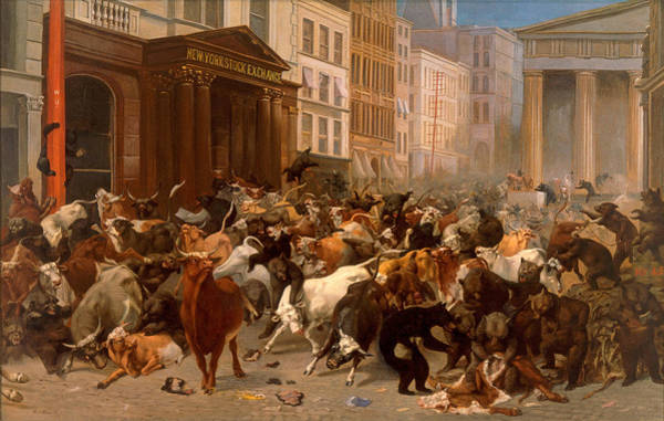 T-shirts Painting - The Bulls And Bears In The Market by William Holbrook Beard