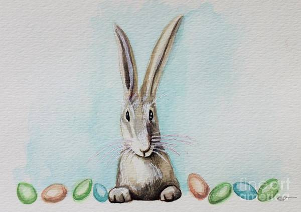 Painting - The Bunny And His Delightful Eggs by Elizabeth Robinette Tyndall