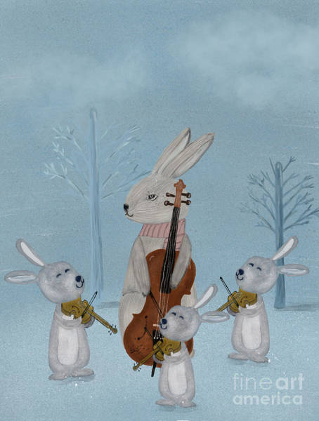 Dreamy Wall Art - Painting - The Bunny Quartet by Bri Buckley