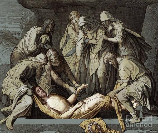 Wall Art - Drawing - The Burial Of Jesus, Gospel Of John by Julius Schnorr von Carolsfeld