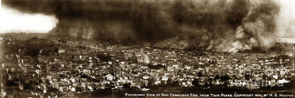 Photograph - The Burning Of San Francisco Panoramic View Of San Francisco From Twin Peaks April 1906 by California Views Archives Mr Pat Hathaway Archives