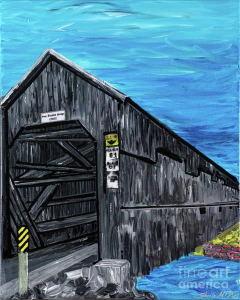 Covered Bridge Painting - The Burpee Bridge by Sheila McPhee