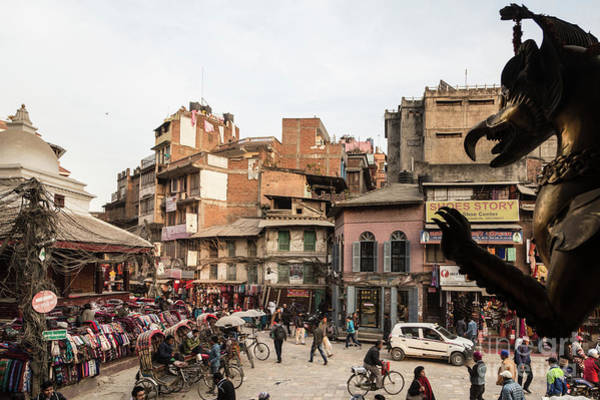 Photograph - The Busy Indra Chowk Intersection In The Heart Of Kathmandu Old  by Didier Marti