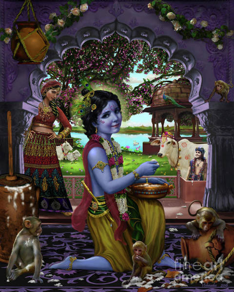 Mixed Media - The Butter Thief by Vishnudas Art