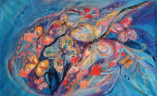 Wall Art - Painting - The Butterflies On Blue by Elena Kotliarker