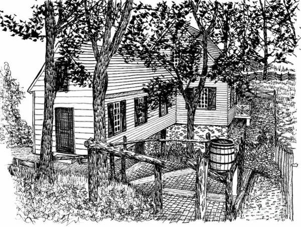 Reconstruction Drawing - The Cabinetmaker's Shop Path  by Dawn Boyer