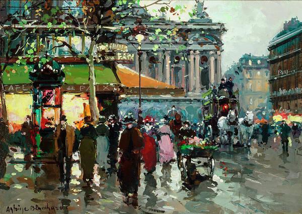 Parisian Cafe Painting - The Cafe De La Paix by Antoine Blanchard