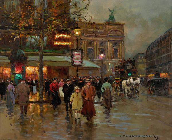 Parisian Cafe Painting - The Cafe De La Paix by Edouard Henri Leon Cortes