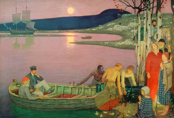 Groups Of People Painting - The Call Of The Sea by Frederick Cayley Robinson