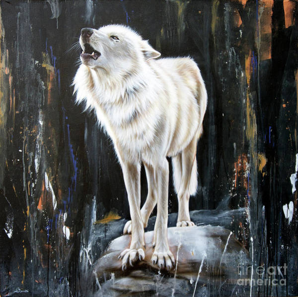 Arctic Wolf Painting - The Call by Sandi Baker