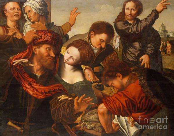 Sixteenth Wall Art - Painting - The Calling Of Matthew by Jan van Sanders Hemessen