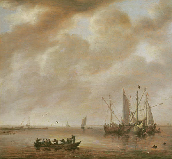 Flying The Flag Wall Art - Painting - The Calm Sea by Willem van Diest