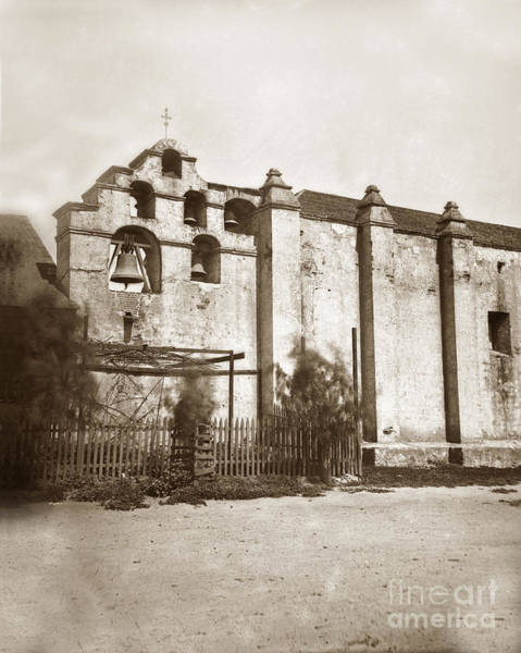 Photograph - The Campanario, Or Bell Tower Of San Gabriel Mission Circa 1880 by California Views Archives Mr Pat Hathaway Archives