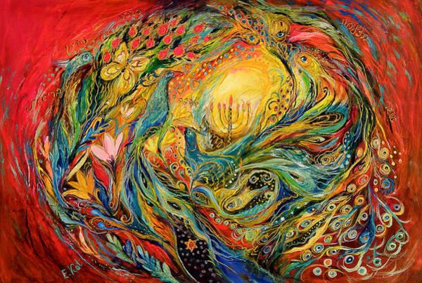 Kaballah Wall Art - Painting - The Candles by Elena Kotliarker