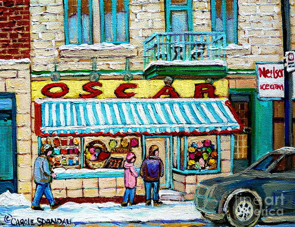 Painting - The Candy Store Winter Scene Painting Montreal Memories Oscar's Candy Shop Original Canadian Art  by Carole Spandau
