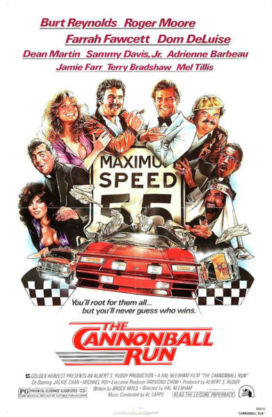 The Cannonball Run Retro Movie Poster  Art Print