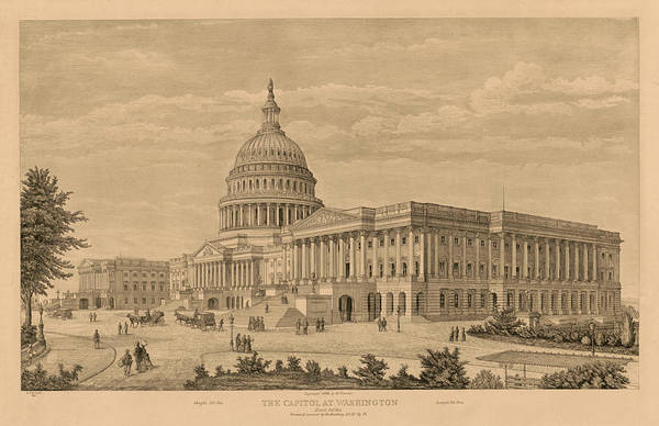 Wall Art - Painting - The Capitol At Washington by 19th Century