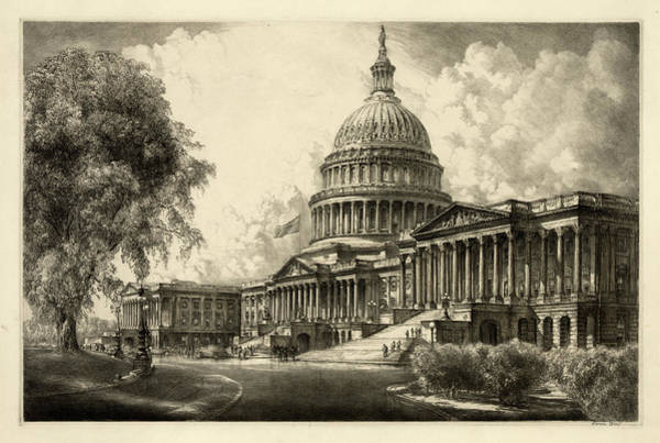 Wall Art - Painting - The Capitol, Washington by 19th Century
