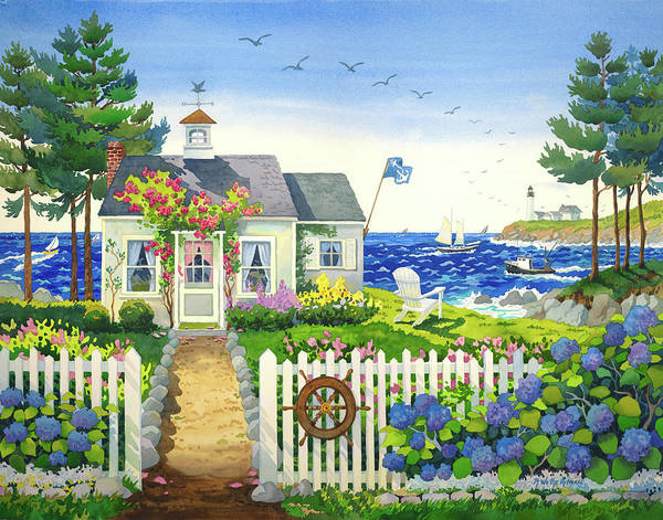 Helm Painting - The Captain's Cottage by Robin Wethe Altman